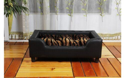 Hondenbank Leder look Zwart 79 cm