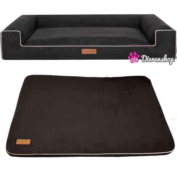 Hondenmand Lounge bed & Benchmat Suedine Zwart 100 cm-0