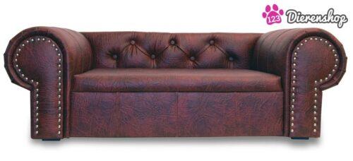 Hondenbank Chesterfield XL Rood-Bruin-0