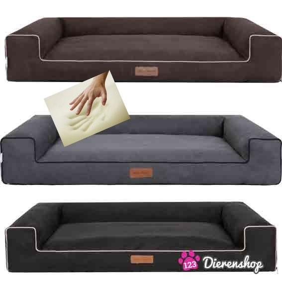 Orthopedische hondenmand Lounge Bed Suedine Grijs 100 cm-19406
