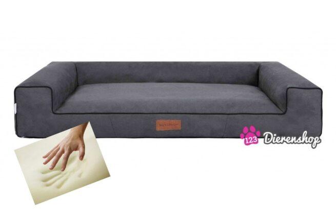 Orthopedische hondenmand lounge bed suedine grijs 80 cm-0