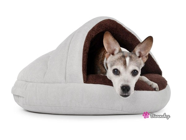 Hondenmand Snuggle Cave Deluxe Creme Bruin 75 cm -0