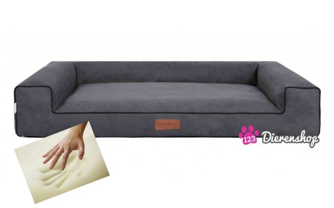 Orthopedische hondenmand Lounge Bed Indira Suedine Grijs 120 cm-0