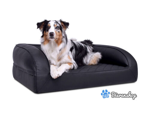 Orthopedische hondenmand lounge bed kunstleder zwart 90cm